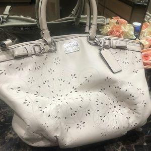 Beautiful off white leather coach handbag